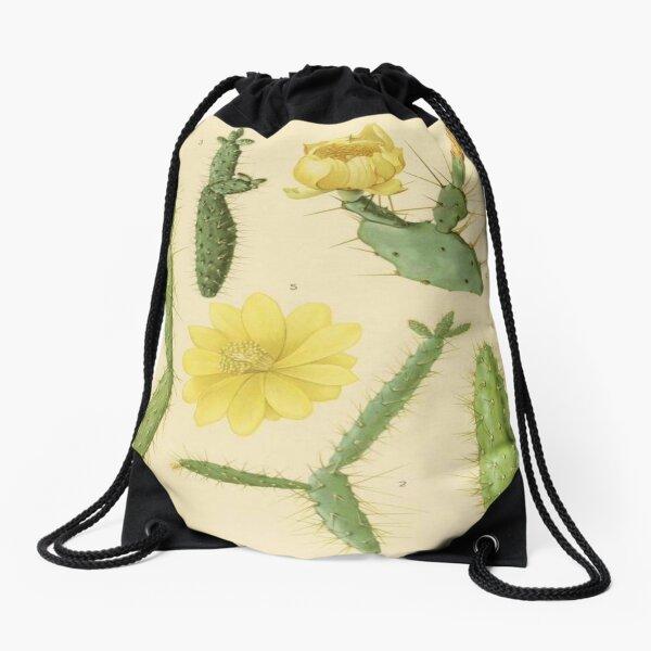 Vintage Botanical Cacti Drawstring Bag