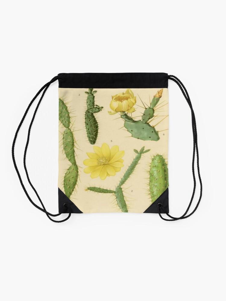Alternate view of Vintage Botanical Cacti Drawstring Bag