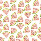 Watermelon fruit illustrated pattern by Sharon Farrow