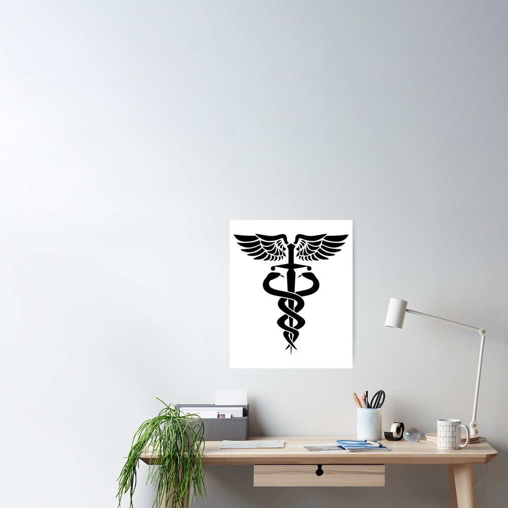 Caduceus medical symbol with snakes sword and wings Poster