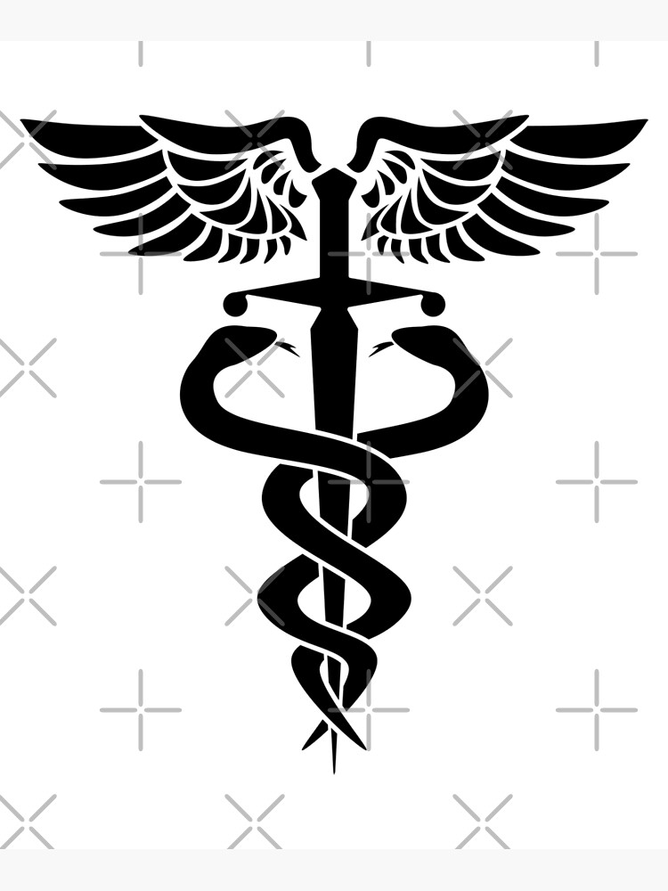 Caduceus medical symbol with snakes sword and wings by hobrath