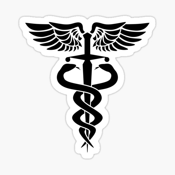 Caduceus medical symbol with snakes sword and wings Sticker
