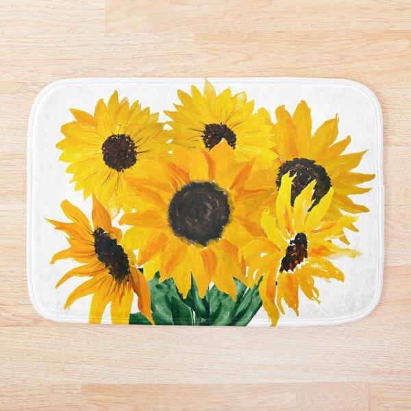 Painted sunflower bouquet Bath Mat