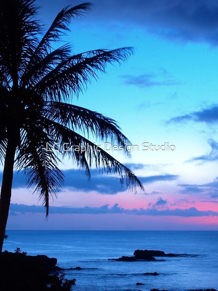 Tropische Insel-hübsche rosa blaue Sonnenuntergang-Landschaft von FudgePudge