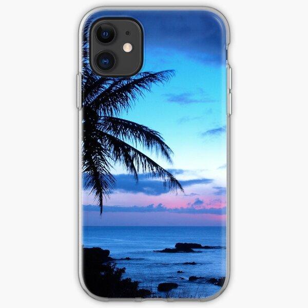 Tropical Island Pretty Pink Blue Sunset Landscape iPhone Soft Case