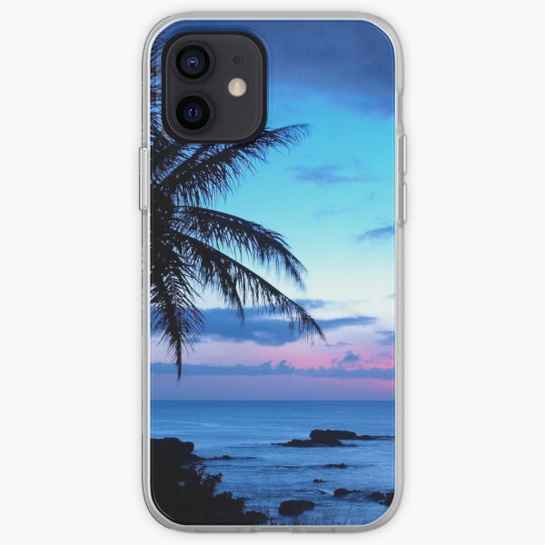 Tropical Island Pretty Pink Blue Sunset Landscape iPhone Soft Case