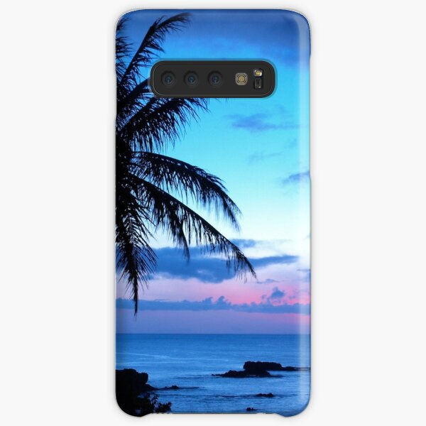 Tropical Island Pretty Pink Blue Sunset Landscape Samsung Galaxy Snap Case