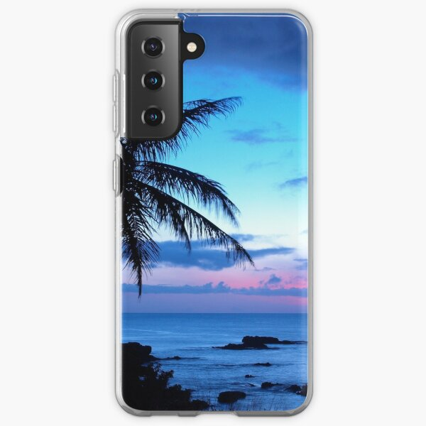 Tropical Island Pretty Pink Blue Sunset Landscape Samsung Galaxy Soft Case