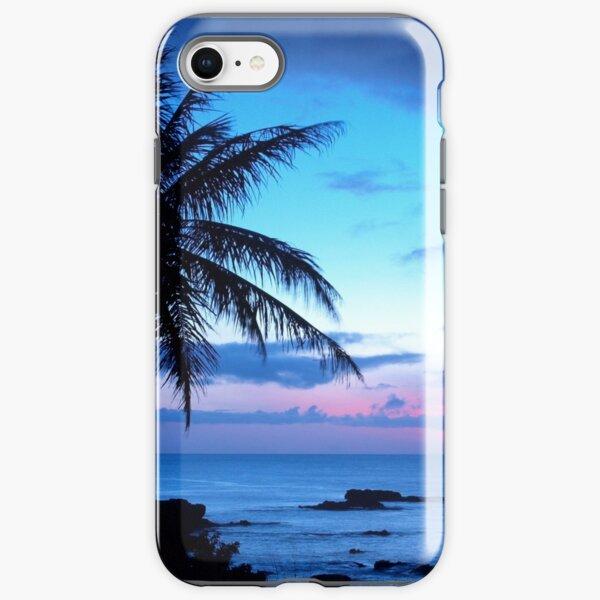 Tropical Island Pretty Pink Blue Sunset Landscape iPhone Tough Case