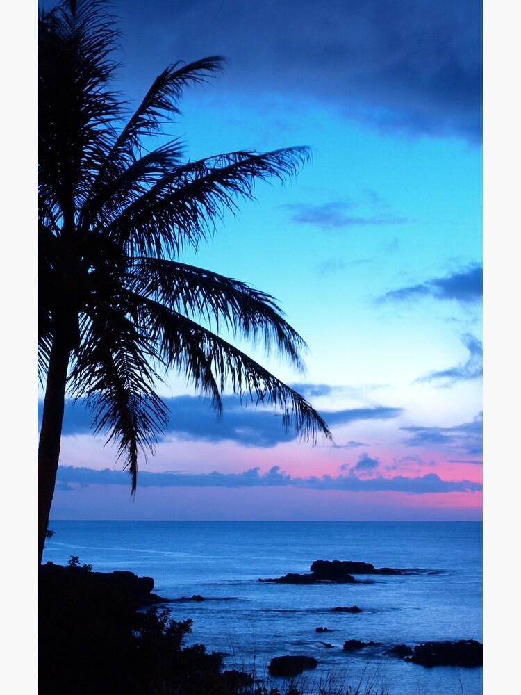 Tropical Island Pretty Pink Blue Sunset Landscape by FudgePudge