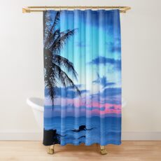 Tropical Island Pretty Pink Blue Sunset Landscape Shower Curtain