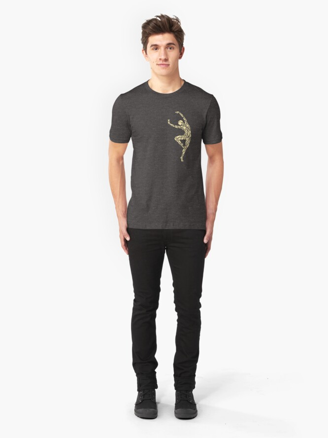Alternate view of Dancer No.14 - Smaller Single Design (Golden Grey) Slim Fit T-Shirt