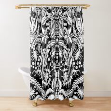 White and Black Jungle Shower Curtain