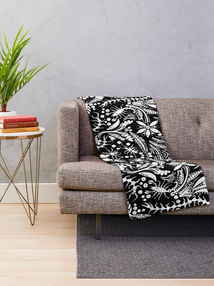 Alternate view of White and Black Jungle Throw Blanket