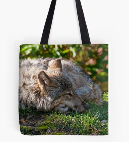 Sleeping Timber Wolf Tote Bag