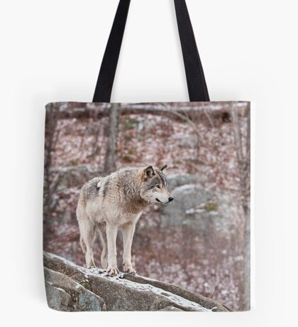 Timber Wolf on Outcropping Tote Bag