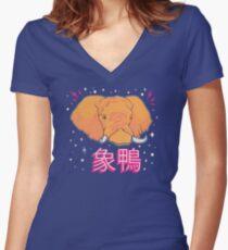 Elephant Duck Kanji Fitted V-Neck T-Shirt