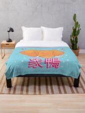 Elephant Duck Kanji Throw Blanket