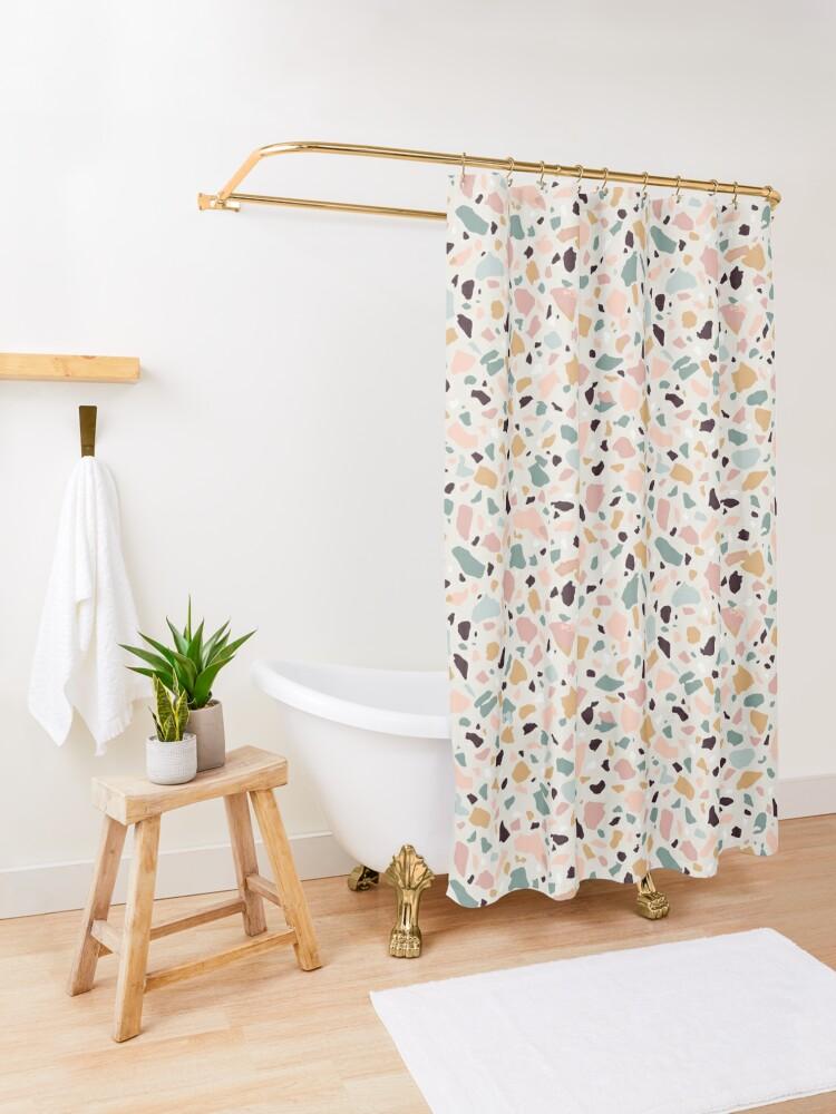 Alternate view of Pink Pastel Terrazzo Shower Curtain
