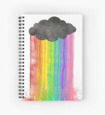 """Rainbow Rain"" watercolour design Spiral Notebook"