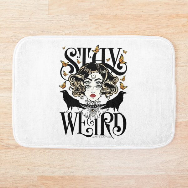 Rose and The Ravens {Stay Weird} Colour Version Bath Mat