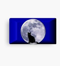 Cat and the moon Canvas Print