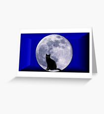 Cat and the moon Greeting Card