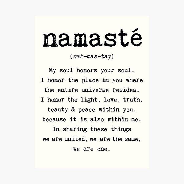 Namaste. Photographic Print