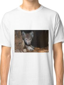 Timber Wolf Pup in Den Classic T-Shirt
