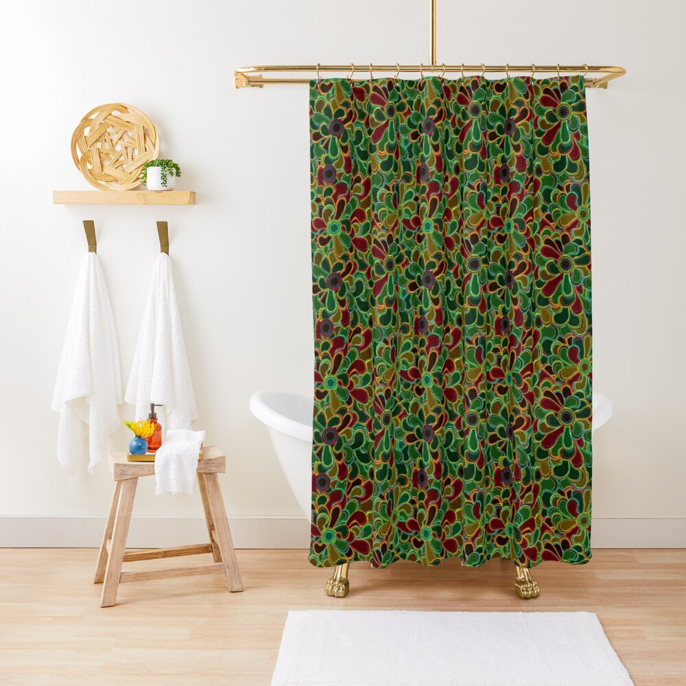 Flowers with stained glass style Shower Curtain