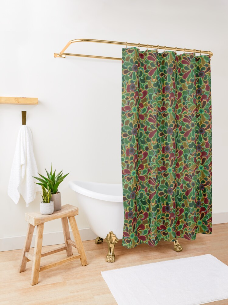 Alternate view of Flowers with stained glass style Shower Curtain