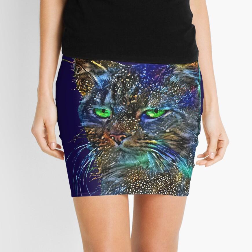 Artificial neural style Starry night wild cat Mini Skirt