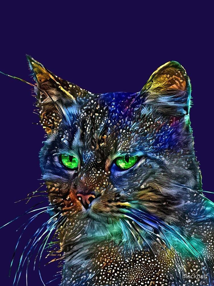 Artificial neural style Starry night wild cat by blackhalt