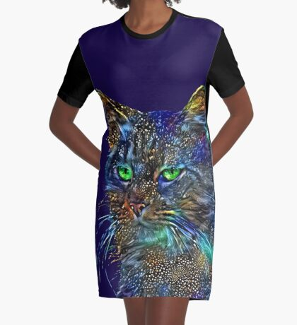 Artificial neural style Starry night wild cat Graphic T-Shirt Dress
