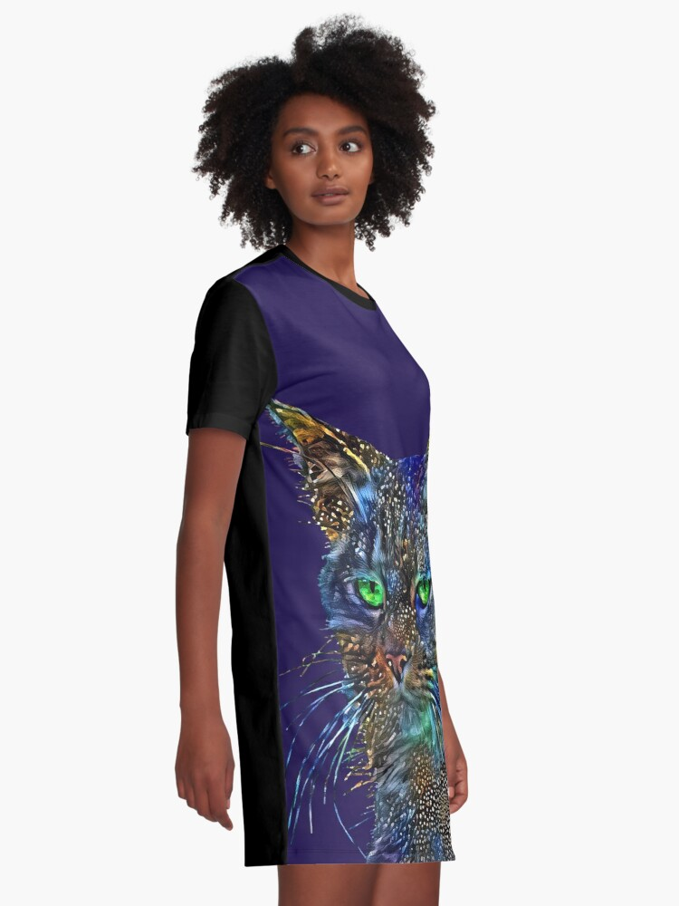 Alternate view of Artificial neural style Starry night wild cat Graphic T-Shirt Dress