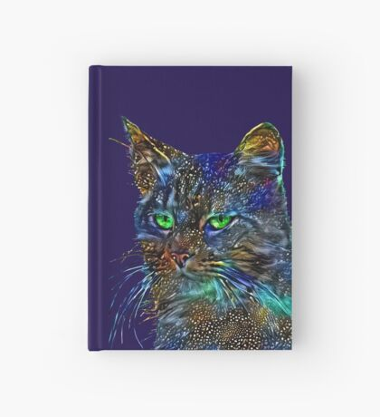 Artificial neural style Starry night wild cat Hardcover Journal