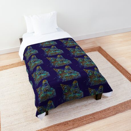 Artificial neural style Starry night wild cat Comforter