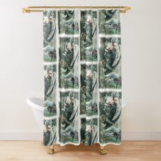 NIGHTINGALE THE ROBBER FELL FROM THE TREE from The Russian Story Book Shower Curtain