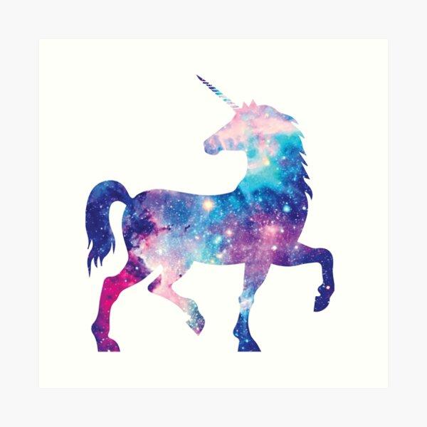 Cosmic watercolor unicorn Art Print