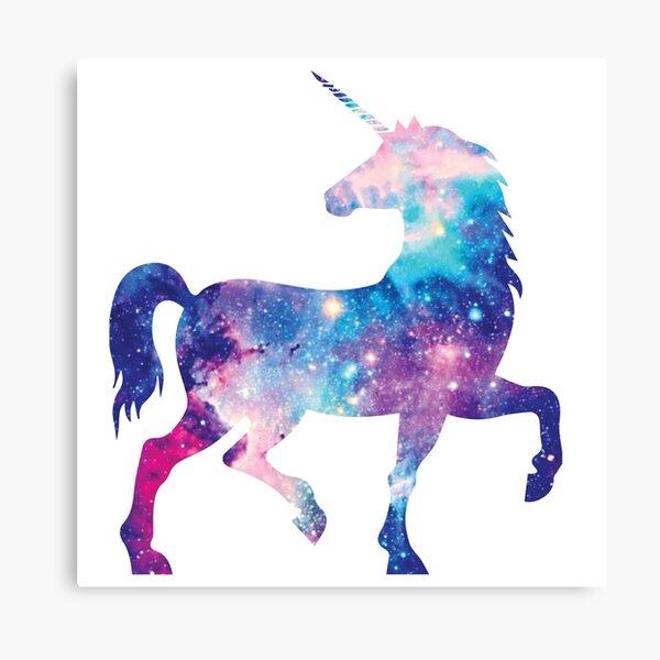 Cosmic watercolor unicorn Canvas Print