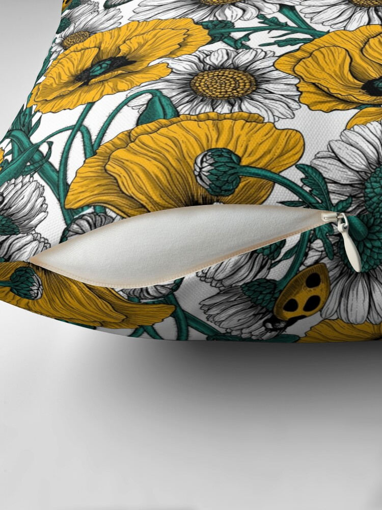 Alternate view of The meadow in yellow Throw Pillow