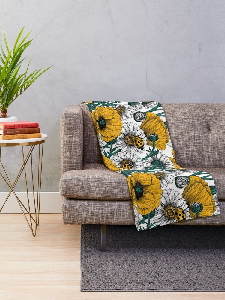 Alternate view of The meadow in yellow Throw Blanket