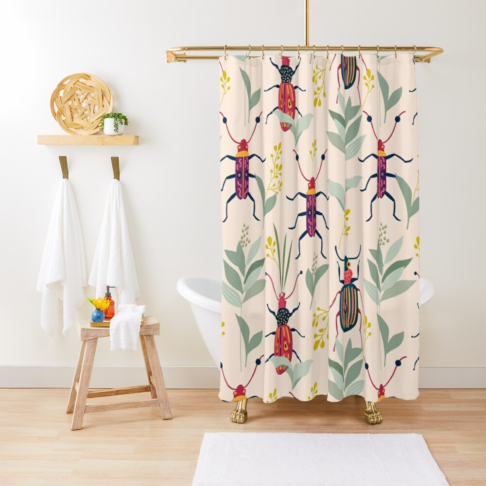 Summer Bugs #illustration #pattern  Shower Curtain
