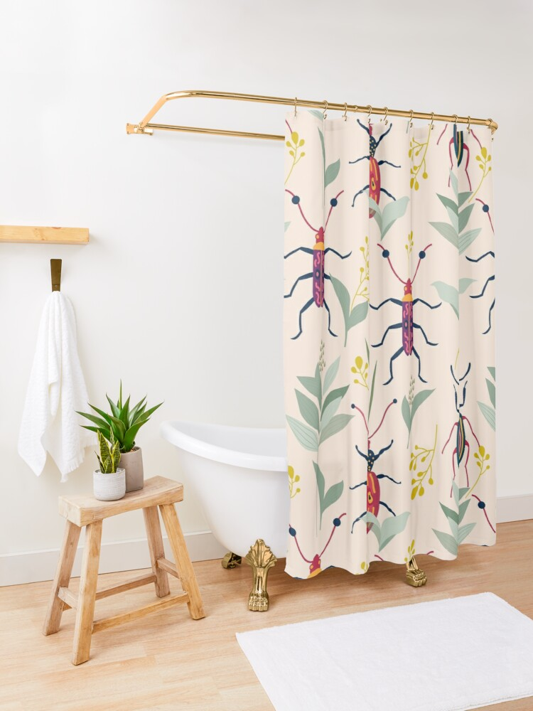 Alternate view of Summer Bugs #illustration #pattern  Shower Curtain