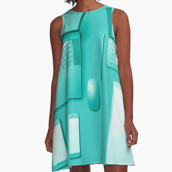Tech In Teal A-Line Dress