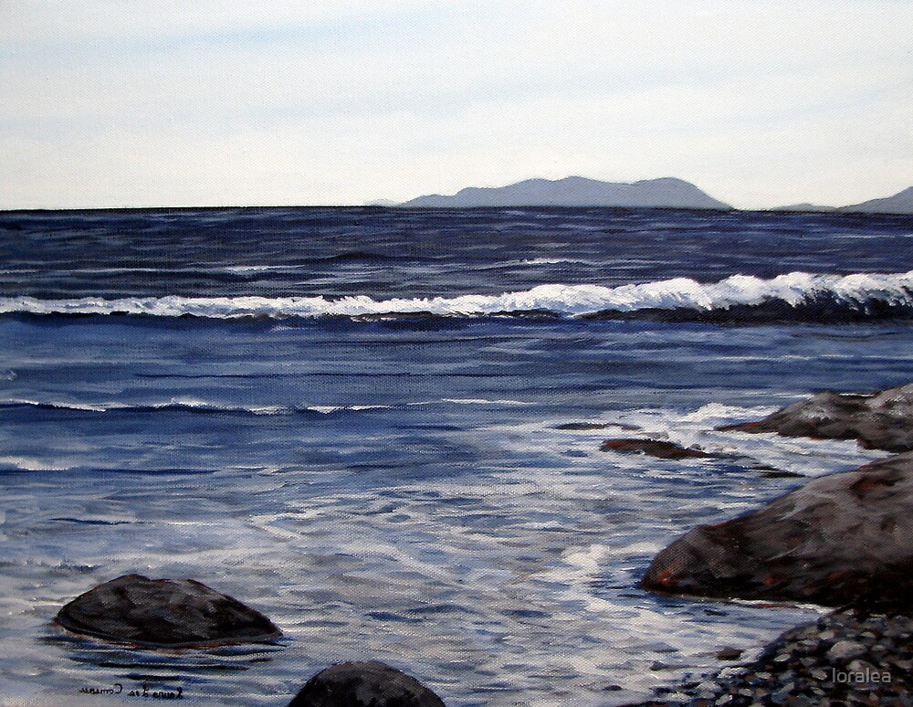 Pic Island in the Distance - Lake Superior - Marathon Ontario Canada by loralea