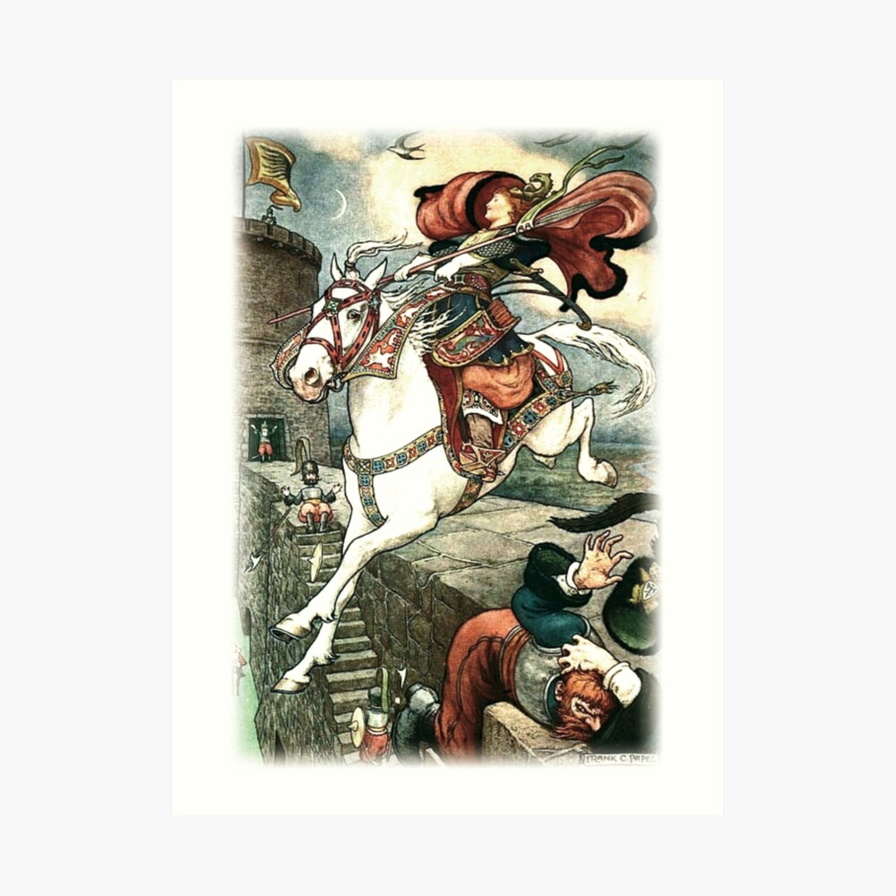 SHE PUT HER GOOD STEED TO THE WALLS AND LEAPT LIGHTLY OVER THEM from the story HOW STAVR THE NOBLE WAS SAVED BY A WOMAN'S WILES in The Russian Story Book Art Print