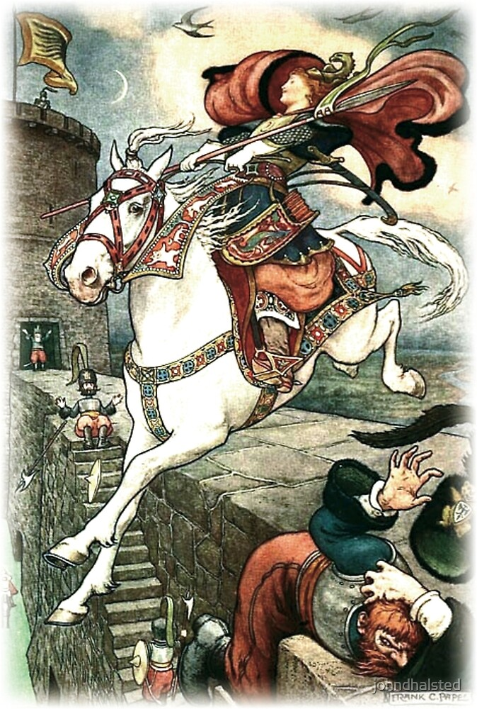 SHE PUT HER GOOD STEED TO THE WALLS AND LEAPT LIGHTLY OVER THEM from the story HOW STAVR THE NOBLE WAS SAVED BY A WOMAN'S WILES in The Russian Story Book by johndhalsted