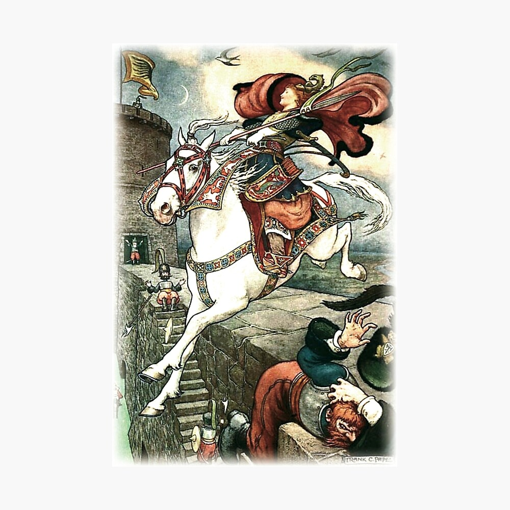SHE PUT HER GOOD STEED TO THE WALLS AND LEAPT LIGHTLY OVER THEM from the story HOW STAVR THE NOBLE WAS SAVED BY A WOMAN'S WILES in The Russian Story Book Photographic Print