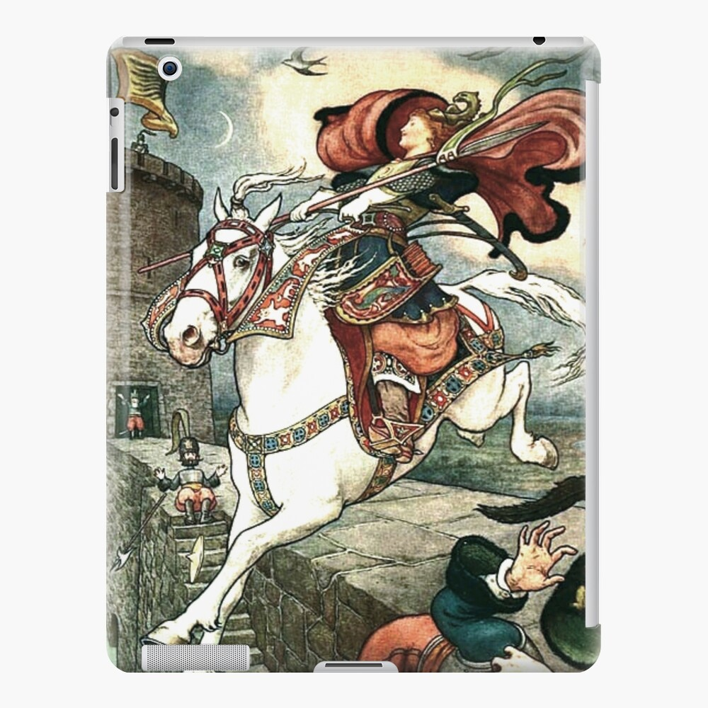 SHE PUT HER GOOD STEED TO THE WALLS AND LEAPT LIGHTLY OVER THEM from the story HOW STAVR THE NOBLE WAS SAVED BY A WOMAN'S WILES in The Russian Story Book iPad Case & Skin